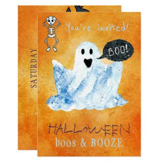 Cartão Partido na moda das bebidas das vaias do fantasma