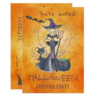 Cartão Partido na moda do traje da bruxa da aguarela do