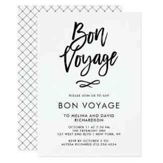 Cartão Partido na moda preto e branco do bon voyage do