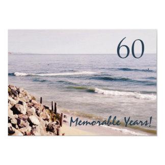Cartão Partido-Oceano memorável de 60 anos/aniversário