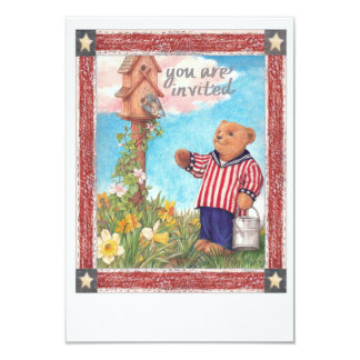 Cartão Partido patriótico ilustrado de Teddybear