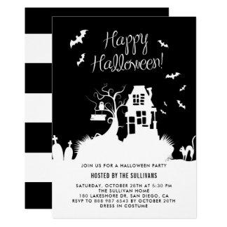 Cartão Partido preto & branco assombrado do Dia das