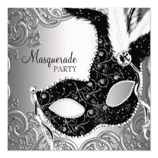 Cartão Partido preto de prata do mascarada da máscara