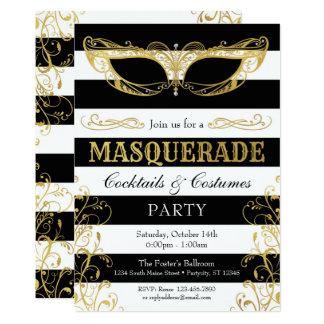 Cartão Partido preto do traje da máscara do mascarada do