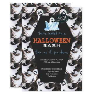 Cartão Partido preto e branco moderno dos fantasmas do