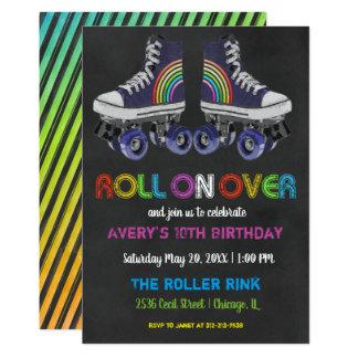 Cartão Partido retro da patinagem de rolo