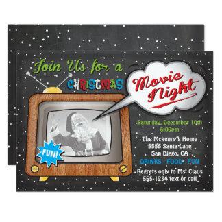 Cartão Partido retro da tevê da noite de cinema do Natal