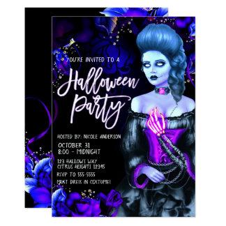 Cartão Partido roxo de incandescência do Dia das Bruxas