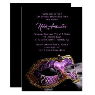 Cartão Partido roxo preto elegante do mascarada do doce