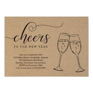 Cartão Partido rústico da véspera de Ano Novo no fundo de