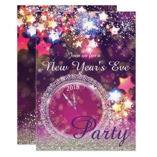 Cartão Partido Sparkling da véspera de Ano Novo