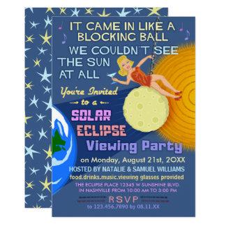 Cartão Partido Sun retro engraçado do eclipse solar que