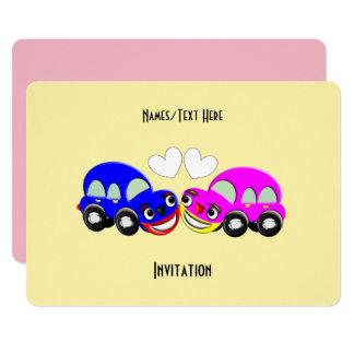 Cartão Partido temático do divertimento do carro bonito