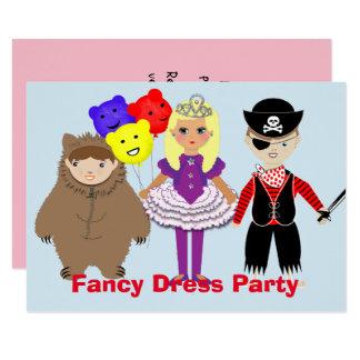 Cartão Partido temático do vestido de fantasia bonito dos