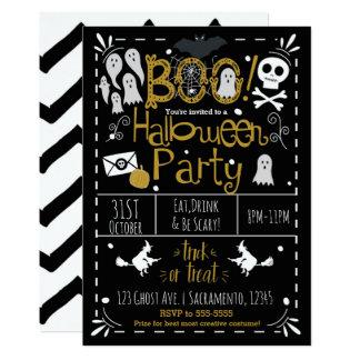 Cartão Partido tirado do traje do Dia das Bruxas mão