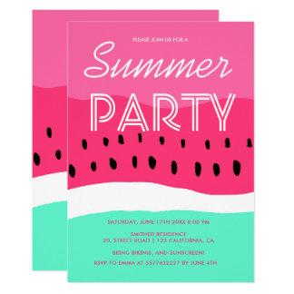 Cartão Partido verde cor-de-rosa do verão da melancia da