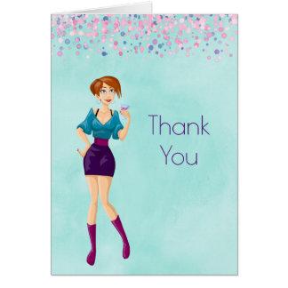 Cartão Party girl dos desenhos animados com o obrigado