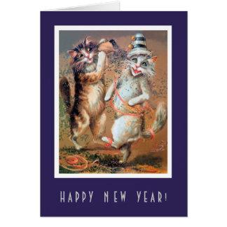 Cartão Partying dos gatos do feliz ano novo