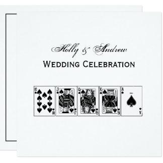 Cartão Pás reais do resplendor reto do póquer da noite do