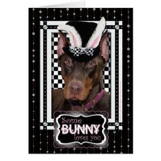 Cartão Páscoa - algum coelho o ama - Doberman