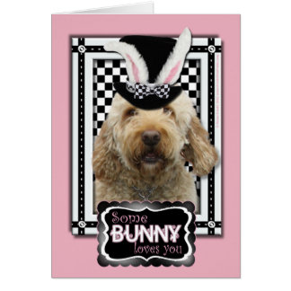 Cartão Páscoa - algum coelho o ama - GoldenDoodle