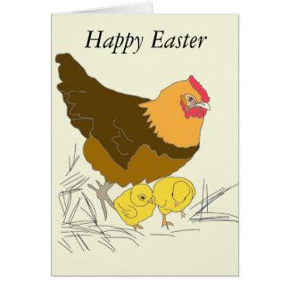 Cartão Páscoa da galinha e dos pintinhos