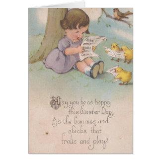 Cartão Páscoa do vintage feliz como pintinhos