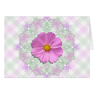 Cartão - páscoa - MED. Cosmos cor-de-rosa no laço