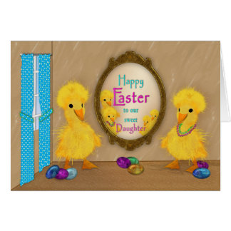 Cartão Páscoa - patos engraçados - filha