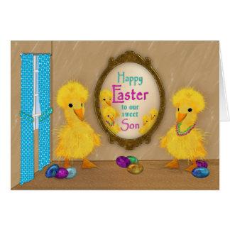 Cartão Páscoa - patos engraçados - filho