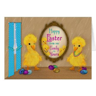 Cartão Páscoa - patos engraçados - nossa família a seu