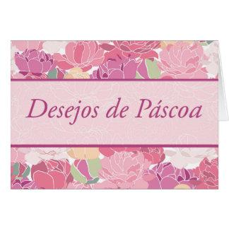 Cartão Páscoa portuguesa com flores das peônias