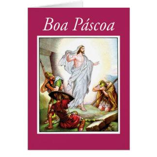 Cartão Páscoa portuguesa, ressurreição de Jesus,