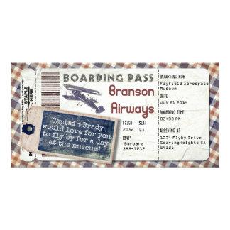 Cartão Passagem de embarque 2 do avião do vintage