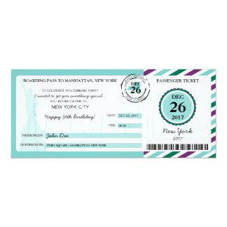 Cartão Passagem de embarque do presente do Natal a NEW