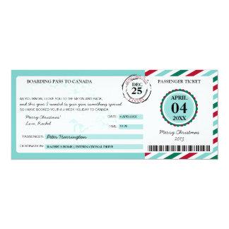 Cartão Passagem de embarque do presente do Natal de