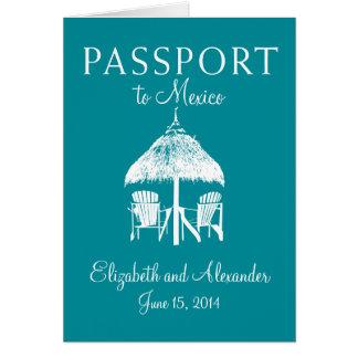Cartão Passaporte ao casamento de Cancun México