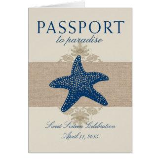 Cartão Passaporte da estrela do mar do doce dezesseis a
