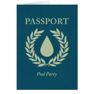 Cartão passaporte da festa na piscina