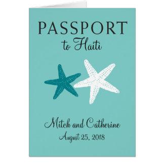 Cartão Passaporte do casamento da estrela do mar de Haiti