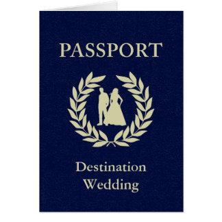 Cartão passaporte do casamento do destino