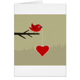 Cartão Passarinho com coração