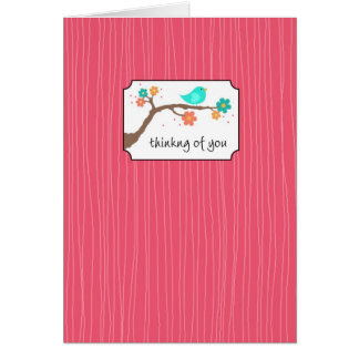Cartão Passarinho no ramo - pensando de você