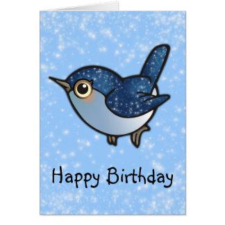 Cartão Pássaro azul de brilho - aniversário
