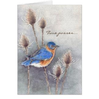 Cartão Pássaro azul que pensa de você