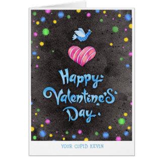 Cartão Pássaro bonito & coração da tipografia feliz do