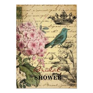 Cartão Pássaro botânico do francês do hydrangea da arte