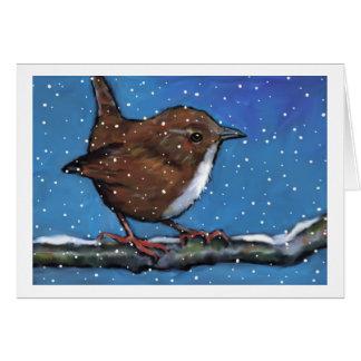 Cartão Pássaro: Carriça pequena no inverno: Pintura