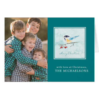 Cartão Pássaro da aguarela em um Sprig da baga do inverno