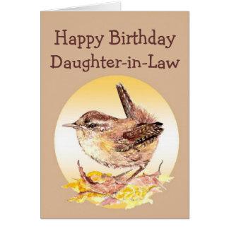 Cartão Pássaro da carriça da aguarela da filha do feliz